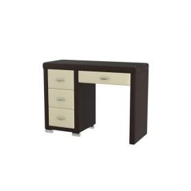 Туалетный столик OrmaSoft 2, 4 ящика, левый, экокожа коричневая/кремовая