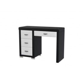 Туалетный столик OrmaSoft 2, 4 ящика, левый, экокожа черная/белая
