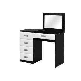 Туалетный столик Como/Veda, с зеркалом, 4 ящика, левый, ЛДСП черный/экокожа белая