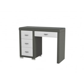 Туалетный столик OrmaSoft 2, 4 ящика, левый, экокожа серая/белая