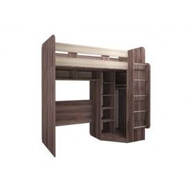 Кровать-чердак Доминик New, М15, с угловым шкафом, шимо темный/светлый