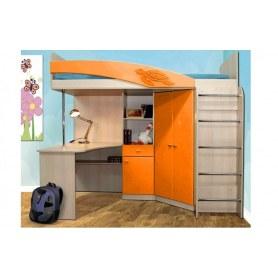 Детская кровать-чердак Адель - 2, Дуб Линдберг/Оранжнвый металлик