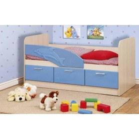 Детская кровать Дельфин 1600 06.222, Дуб Линдберг/Голубой металлик