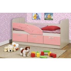 Детская кровать Дельфин 1800 06.223, Дуб Линдберг/Розовый металлик