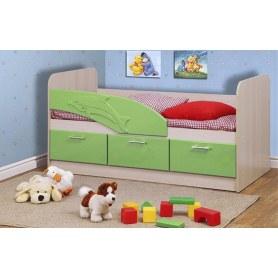 Детская кровать Дельфин 1800 06.223, Дуб Линдберг/Эвкалипт металлик
