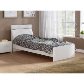 Детская кровать Домино 2, 90х200, ЛДСП белый, экокожа белая