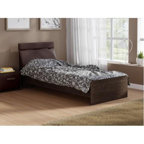 Детская кровать Домино 2, 90х200, ЛДСП дуб венге, экокожа коричневая