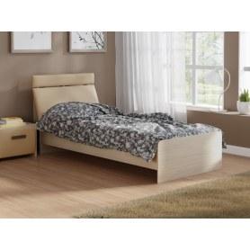 Детская кровать Домино 2, 90х200, ЛДСП дуб шамони, экокожа бежевая