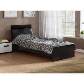 Детская кровать Домино 2, 90х200, ЛДСП черный, экокожа черная