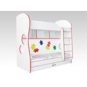 Кровать двухъярусная Соната Kids, 80х200, фасад пазлы