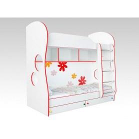 Кровать двухъярусная Соната Kids, 80х200, фасад ромашки