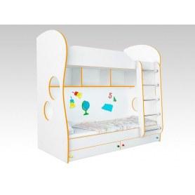 Кровать двухъярусная Соната Kids, 80х200, фасад Школа, оранжевая кромка