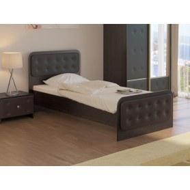 Детская кровать Неро, 90х200, ЛДСП венге/экокожа коричневая