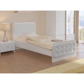 Детская кровать Неро, 90х200, ЛДСП белый/экокожа белая