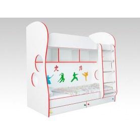 Кровать двухъярусная Соната Kids, 80х200, фасад единоборство