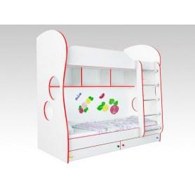 Кровать двухъярусная Соната Kids, 80х200, фасад Розы, красная кромка