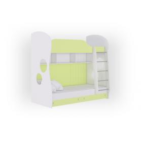Кровать двухъярусная Соната Junior, 80х200, фасад ЛДСП белый/лайм