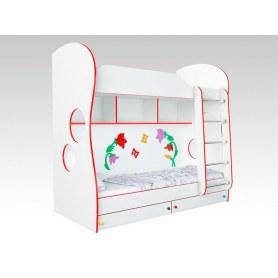 Кровать двухъярусная Соната Kids, 80х200, фасад колокольчики