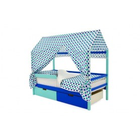 Детская кровать-домик Svogen синий-мятный