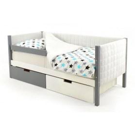 Детская кровать-тахта мягкая Skogen белый-графит
