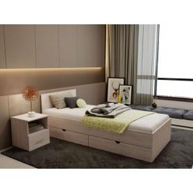 Кровать c выдвижными ящиками КР900А, ясень шимо светлый