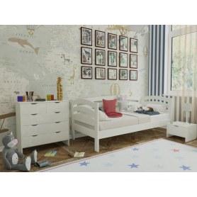 Кровать Веста софа-R, 90х200, береза, белая эмаль