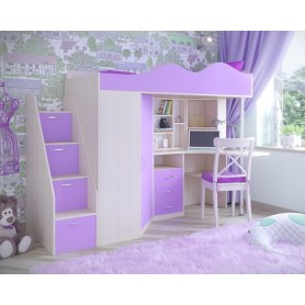 Детская кровать-чердак  Пионер-1, каркас Дуб, фасад Ирис