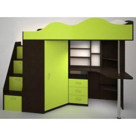Детская кровать-чердак  Пионер-1, каркас Венге, фасад Лайм