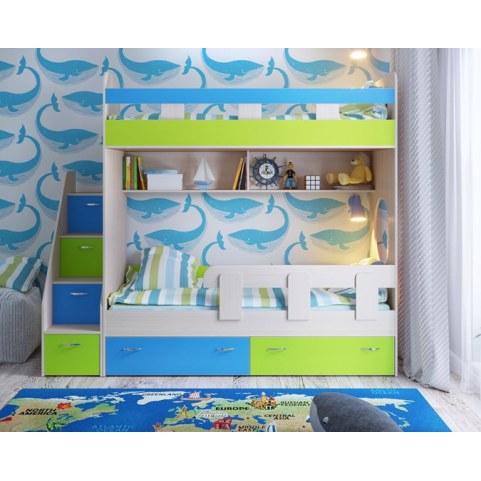 Детская двухъярусная кровать  Юниор-1 с бортом, каркас Дуб, фасад Лайм, Голубой