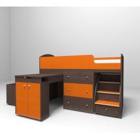 Детская кровать-чердак  Малыш 1800, корпус Бодего темный, фасад Оранжевый