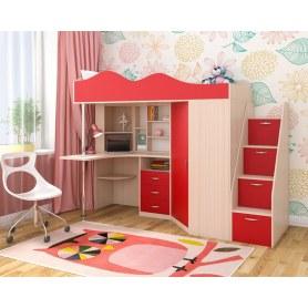 Детская кровать-чердак  Пионер-1, каркас Дуб, фасад Красный