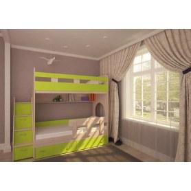 Детская двухъярусная кровать Юниор-1 с бортом, каркас Дуб, фасад Лайм