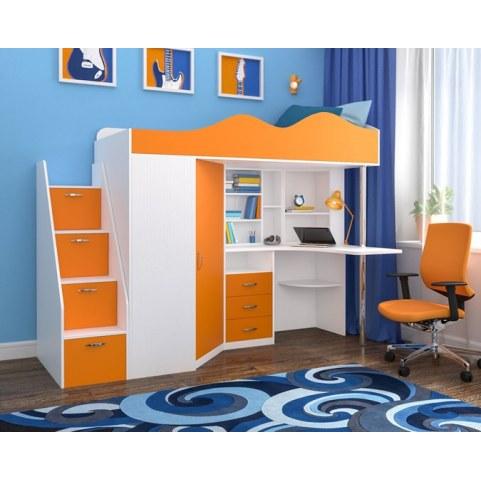 Детская кровать-чердак  Пионер-1, каркас Белое дерево, фасад Оранжевый