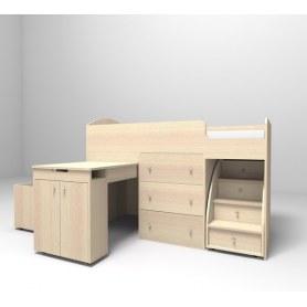 Детская кровать-чердак  Малыш 1600, корпус Дуб, фасад Дуб