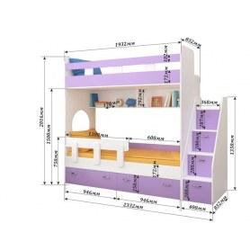 Детская двухъярусная кровать Юниор-1 с бортом, каркас Дуб, фасад Оранжевый