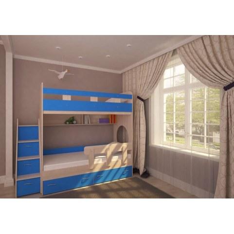 Детская двухъярусная кровать  Юниор-1 с бортом, каркас Дуб, фасад Голубой