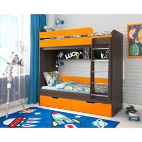 Детская двухъярусная кровать Юниор-5, каркас Бодего, фасад Оранжевый