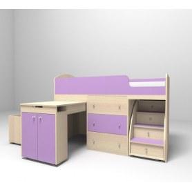 Детская кровать-чердак  Малыш 1800, корпус Дуб, фасад Ирис
