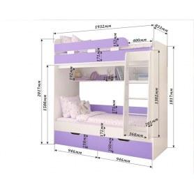 Детская двухъярусная кровать Юниор-5, каркас Белое дерево, фасад Ирис