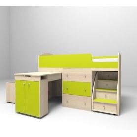 Детская кровать-чердак  Малыш 1600, корпус Дуб, фасад Лайм