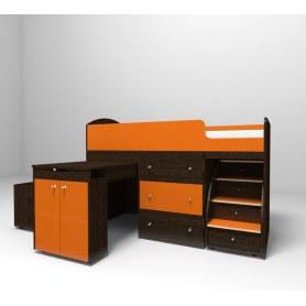 Детская кровать-чердак  Малыш 1600, корпус Венге, фасад Оранжевый