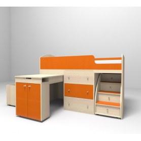 Детская кровать-чердак  Малыш 1600, корпус Дуб, фасад Оранжевый