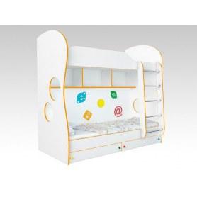 Кровать двухъярусная Соната Kids, 80х200, фасад компьютерный, оранжевая кромка