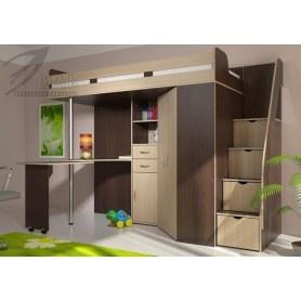 Детская кровать-чердак Мийа, цвет Венге/Дуб молочный