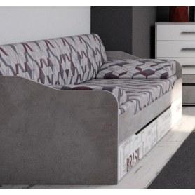 Кровать-диван Грей, с ящиками, цемент светлый/белый