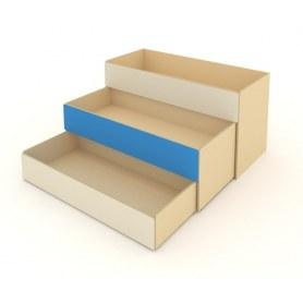 Детская кровать 3-х уровневая КД-2, Беж + Синий