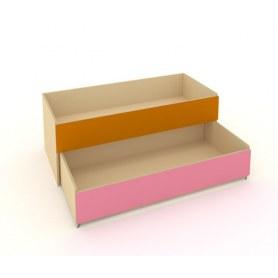 Детская кровать 2-х уровневая КД-2, Беж + Оранжевый + Розовый