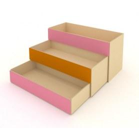 Детская кровать 3-х уровневая КД-2, Беж + Розовый + Оранжевый