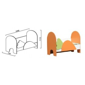 Кровать Морковка, белый/манго лайм