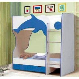 Кровать двухъярусная Дельфин, цвет белый/синий матовый
